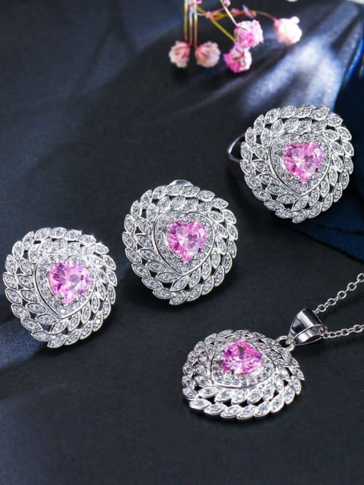 Pink Ring Size 7 Brass Cubic Zirconia Luxury Heart Earring Ring and Necklace Set