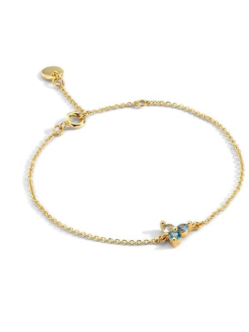 Gold Plated ice flower Zircon Bracelet Brass Cubic Zirconia Flower Vintage Link Bracelet