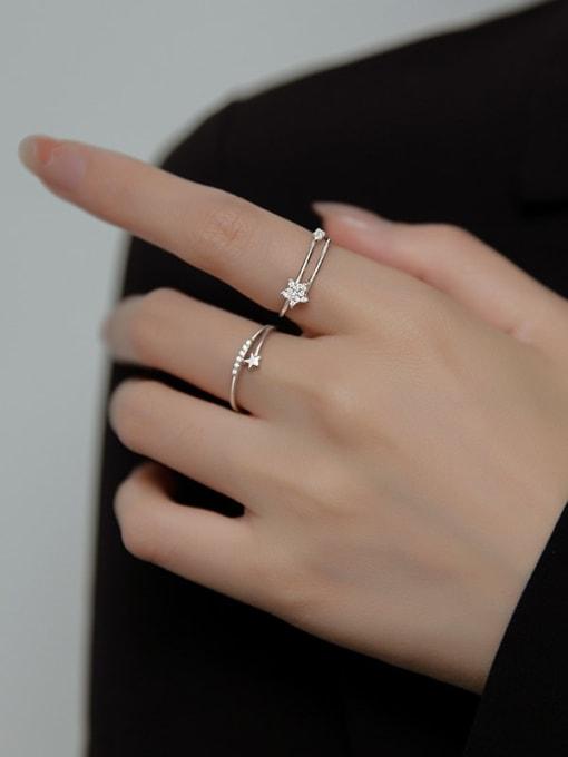 Rosh 925 Sterling Silver Cubic Zirconia Star Minimalist Band Ring 3