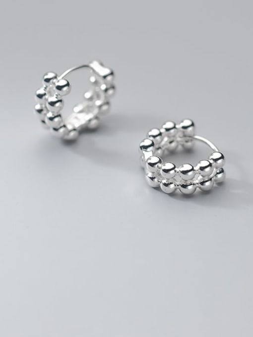 Rosh 925 Sterling Silver Bead Feather Minimalist Stud Earring