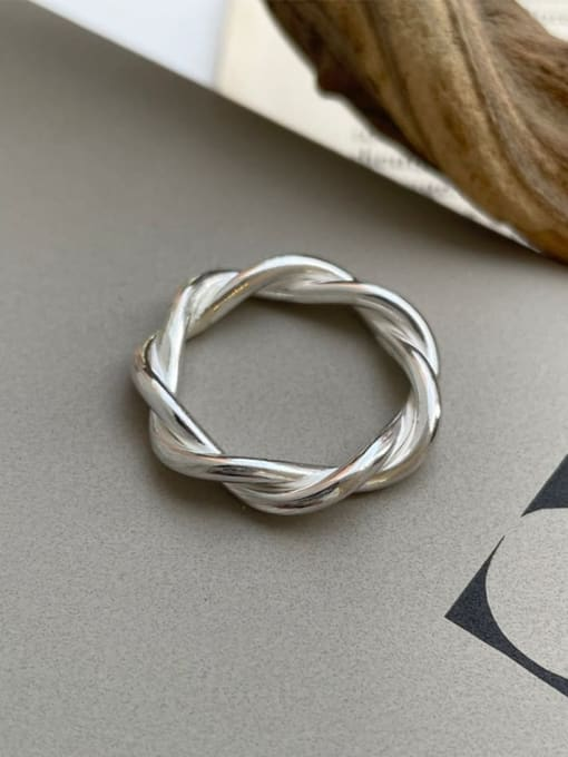 Boomer Cat 925 Sterling Silver Geometric Vintage Band Ring 0