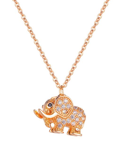 1867 Rose Gold Plated Pendant Necklace Titanium Steel Cubic Zirconia Elephant Vintage Necklace