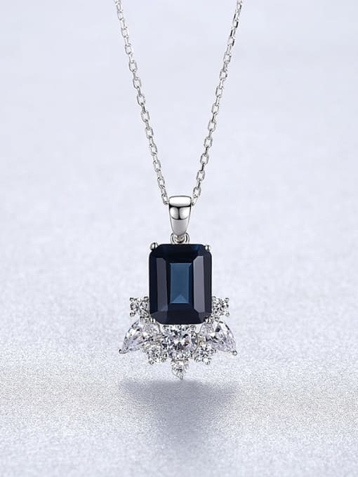 platinum 20A02 925 Sterling Silver Cubic Zirconia Geometric Dainty Necklace