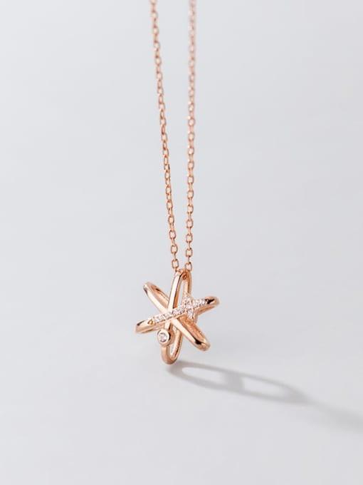 Rosh 925 Sterling Silver Cubic Zirconia Star Minimalist Necklace 4