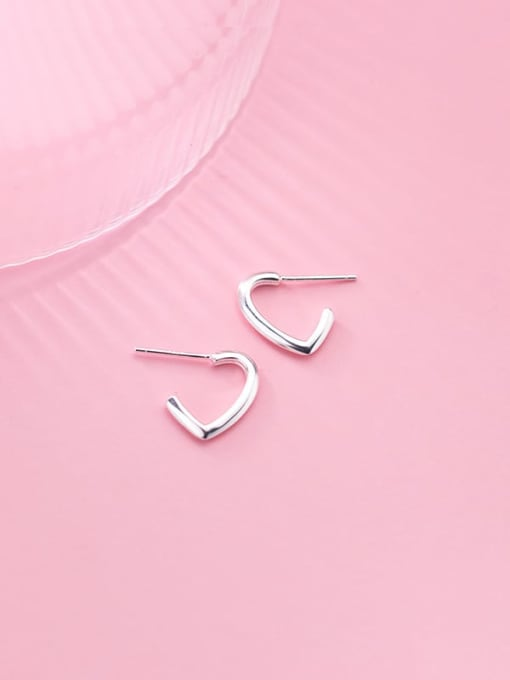 Rosh 925 Sterling Silver Heart Minimalist  Simple line hook  Stud Earring