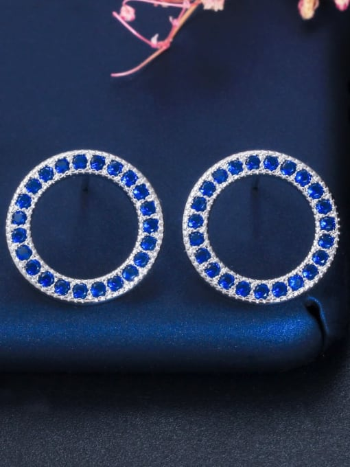 Blue Earrings Brass Cubic Zirconia Luxury Round  Earring and Necklace Set