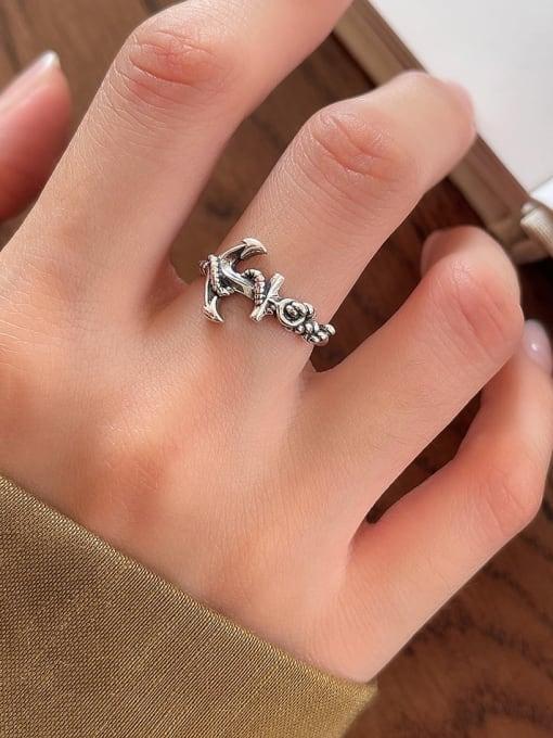 Anchor hook ring J85 2.3g 925 Sterling Silver Carnelian Irregular Vintage Band Ring