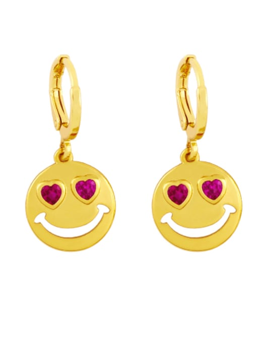 Rose red Brass Rhinestone Smiley Minimalist Huggie Earring