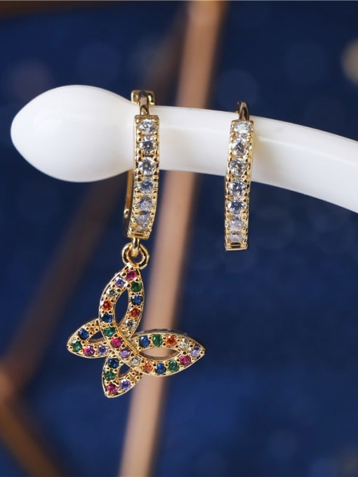 DUDU Brass Cubic Zirconia Asymmetry Butterfly Vintage Huggie Earring 1
