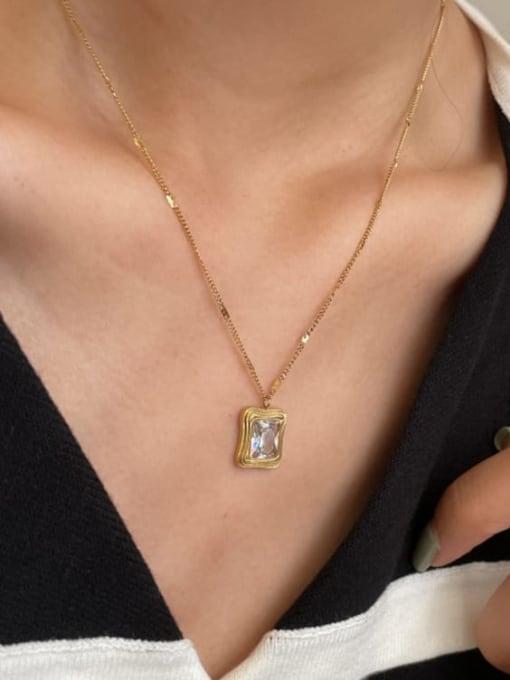 A TEEM Titanium Steel Square Vintage Pendant Necklace 2