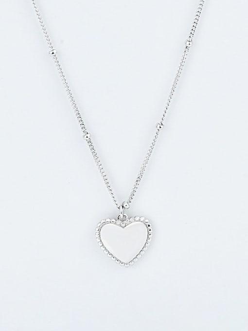 Platinum 925 Sterling Silver Smooth Heart Vintage Pendant Necklace