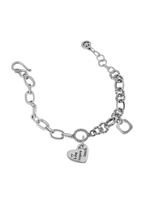 Taiyin 925 Sterling Silver Hollow Geometric  Chain Vintage Link Bracelet