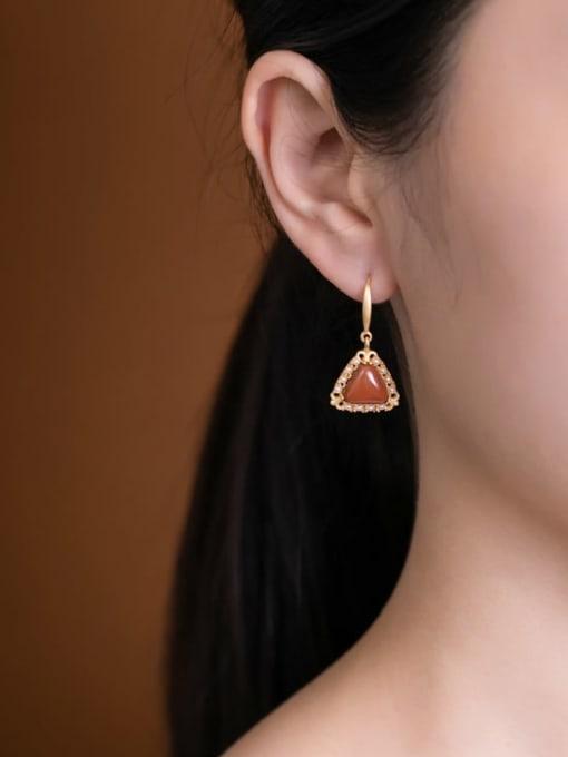 DEER 925 Sterling Silver Carnelian Geometric Vintage Hook Earring 1