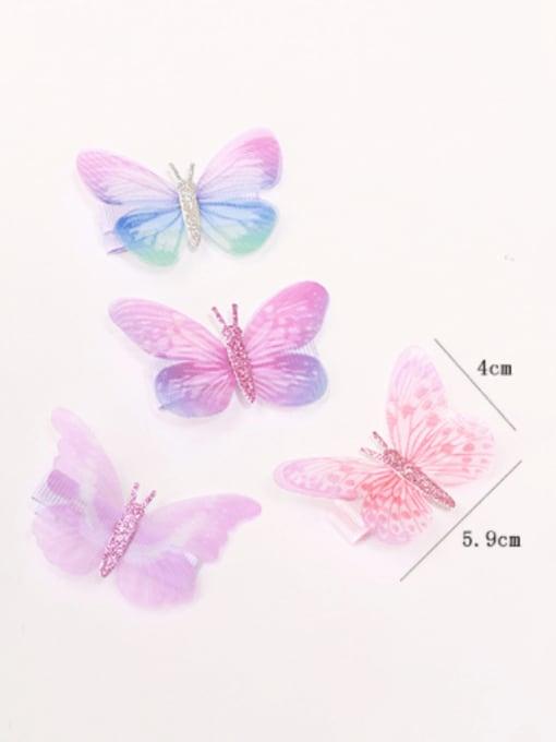 YOKI KIDS Alloy Fabric Cute Butterfly  Multi Color Hair Barrette 2