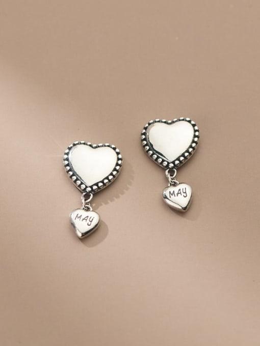 Rosh 925 Sterling Silver Heart Vintage Drop Earring