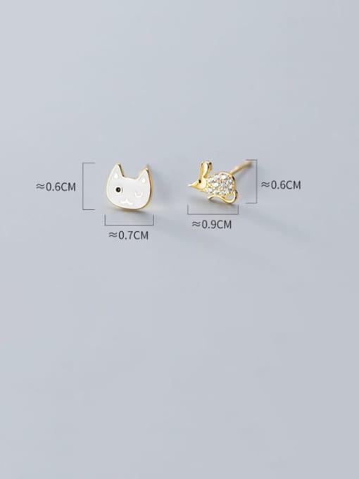 Rosh 925 Sterling Silver Rhinestone White Cat Cute Stud Earring 2