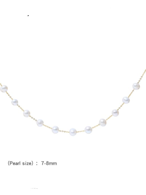 RAIN Brass Freshwater Pearl Geometric Minimalist Beaded Necklace 3