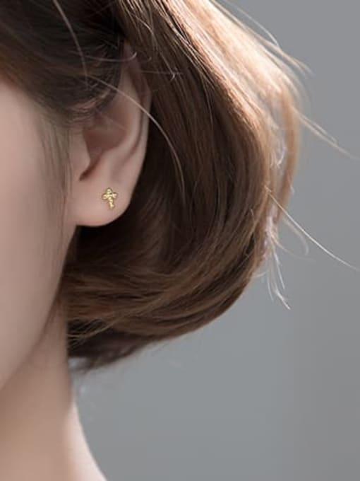Rosh 925 Sterling Silver Cross Minimalist Stud Earring 1