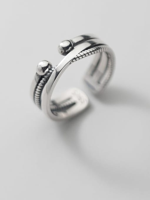 Rosh 925 Sterling Silver Irregular Vintage Cross Twist Lines Stackable Ring