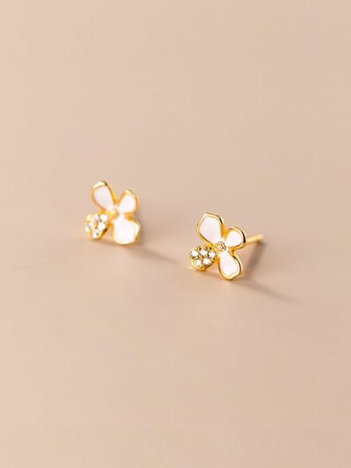 Rosh 925 Sterling Silver Shell Flower Minimalist Stud Earring 0