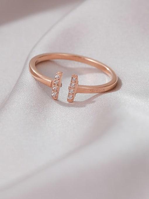 MIYA Titanium Steel Cubic Zirconia Geometric Minimalist Band Ring 1