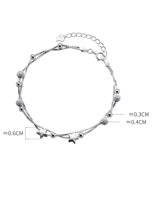 Rosh 925 Sterling Silver Bead Star Minimalist Strand Bracelet 3