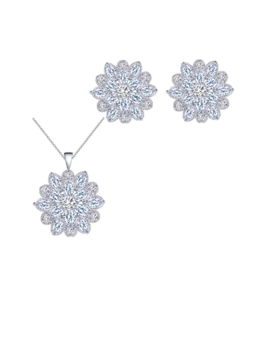 L.WIN Brass Cubic Zirconia Dainty Flower  Earring and Necklace Set 3