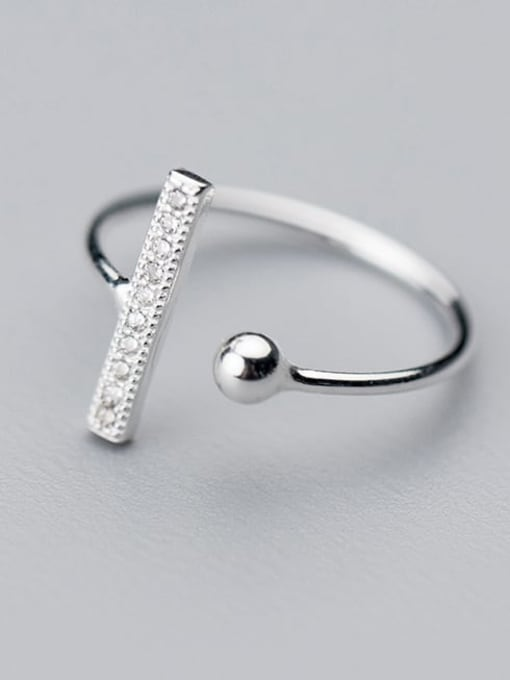 Rosh 925 Sterling Silver Cubic Zirconia Geometric Minimalist Band Ring 1