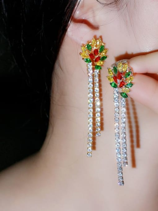 L.WIN Brass Cubic Zirconia Tassel Luxury Drop Earring 2