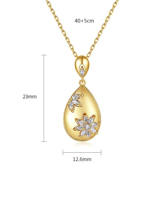 BLING SU Brass Cubic Zirconia Water Drop Vintage Necklace 4