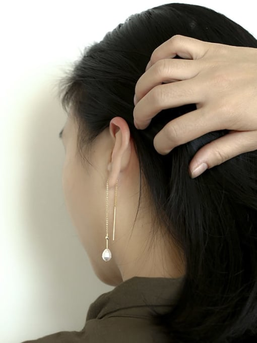 CHARME Brass Imitation Pearl Tassel Minimalist Threader Earring 1