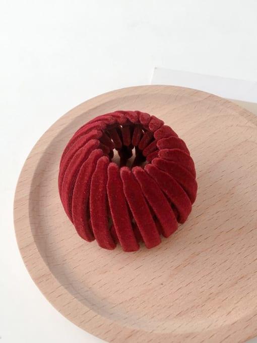 red Flocking hair clip Ball head Horsetail Hair Ring