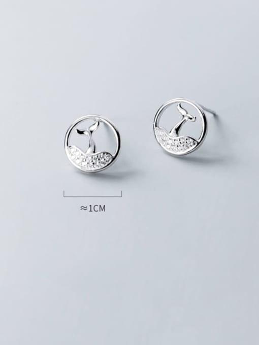 Rosh 925 Sterling Silver Rhinestone Hollow fishtail Minimalist Stud Earring 1
