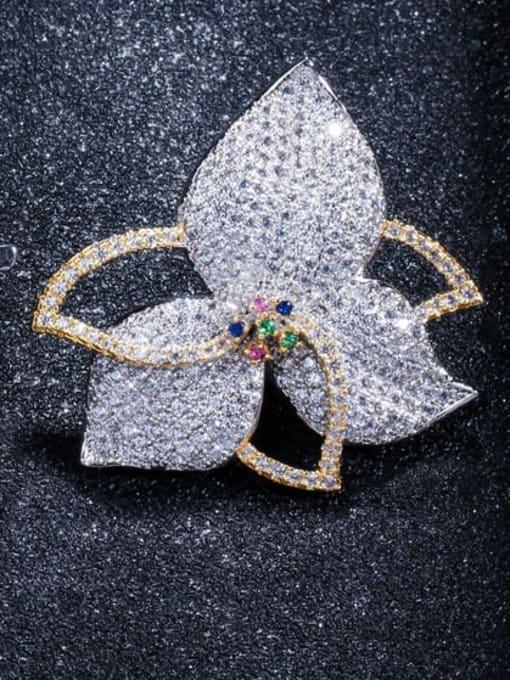 white Brass Cubic Zirconia Flower Luxury Stud Earring