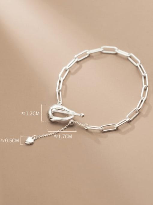 Rosh 925 Sterling Silver Hollow  Geometric Chain Minimalist Link Bracelet 2