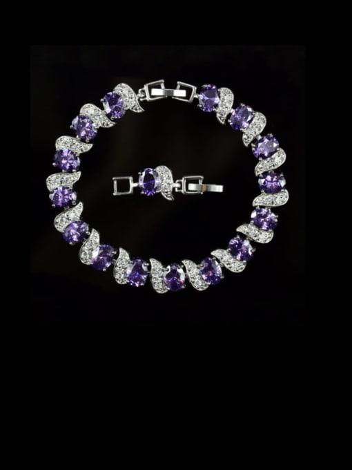 purple Brass Cubic Zirconia Geometric Luxury Bracelet