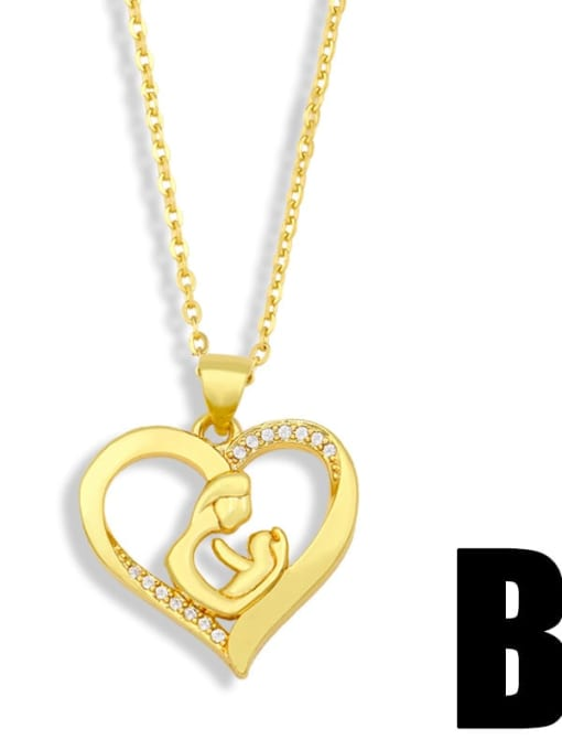 B Brass Cubic Zirconia Mom Heart Minimalist Necklace