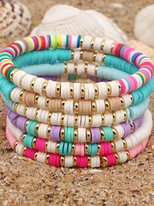 Roxi Stainless steel Multi Color Polymer Clay Geometric Bohemia Stretch Bracelet