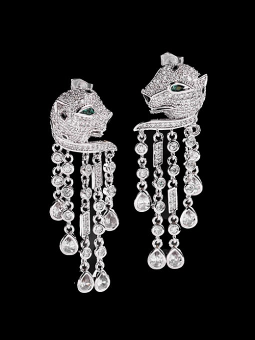steel Brass Cubic Zirconia Leopard Vintage Drop Earring