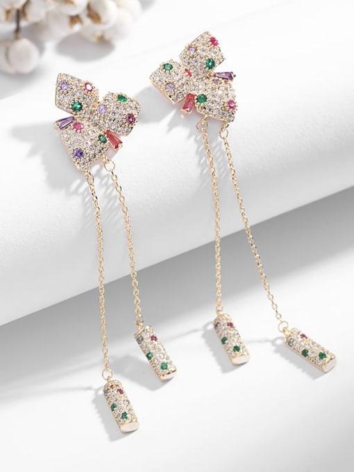 Luxu Brass Cubic Zirconia Butterfly Tassel Trend Drop Earring 0