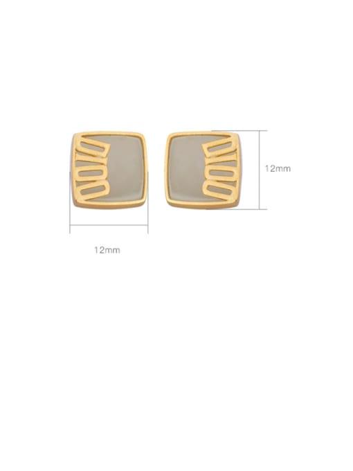 DEER 925 Sterling Silver Jade Geometric Minimalist Stud Earring 2