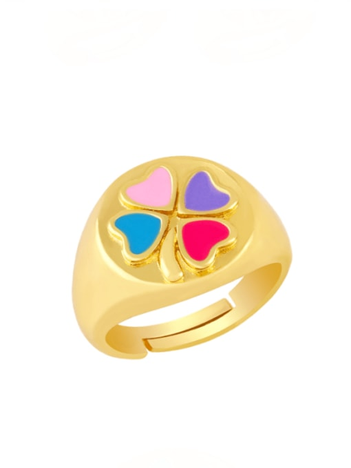 Mixed color Brass Enamel Clover Vintage Band Ring