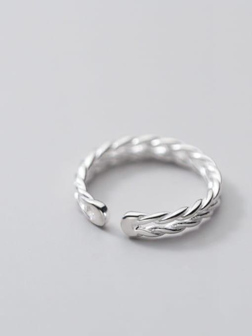 Rosh 925 Sterling Silver Leaf Minimalist Band Ring 3