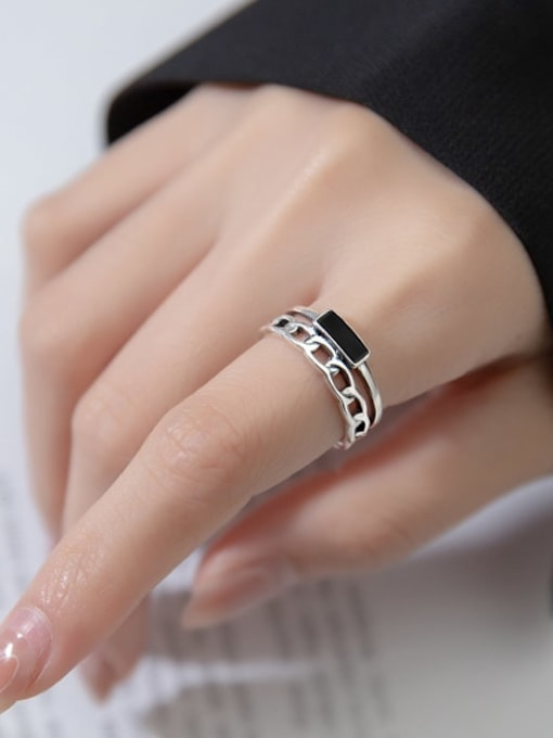 Rosh 925 Sterling Silver Acrylic Geometric Vintage Stackable Ring 3