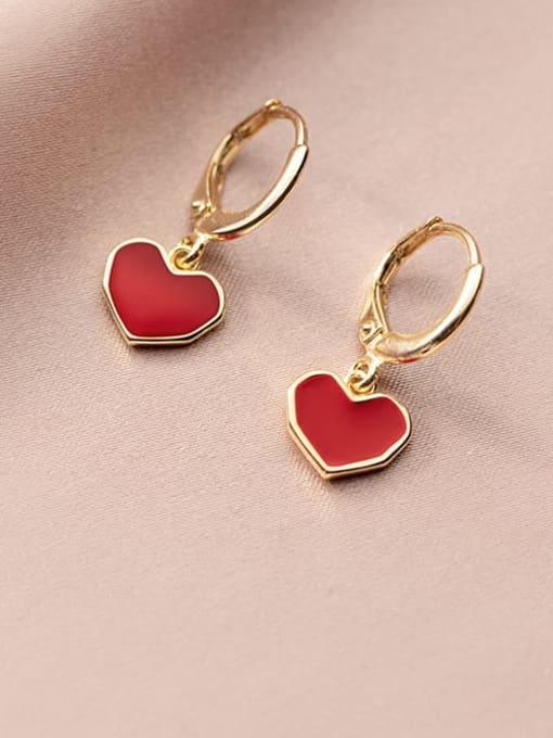 Rosh 925 Sterling Silver Enamel Heart Minimalist Huggie Earring 0