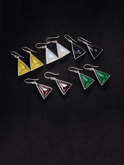 DEER 925 Sterling Silver Garnet Triangle Vintage Hook Earring 0