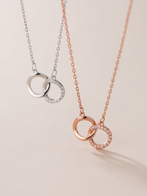 Rosh 925 Sterling Silver Cubic Zirconia Geometric Minimalist Necklace