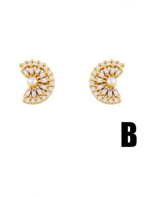 B Brass Cubic Zirconia Star Vintage Stud Earring