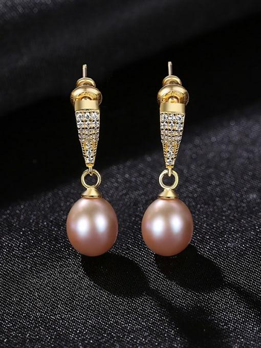 purple  4I05 Brass Cubic Zirconia Water Drop Vintage Drop Earring