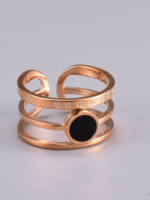 A TEEM Titanium Steel Acrylic Round Vintage Stackable Ring 3